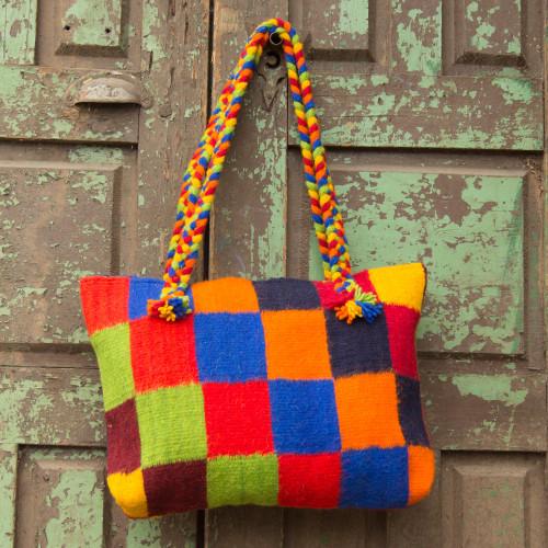 Zapotec wool shoulder bag 'Cubic Fantasy'