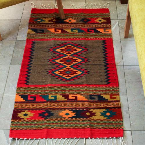 Zapotec wool rug 2.5x5 'Diamond Trio'