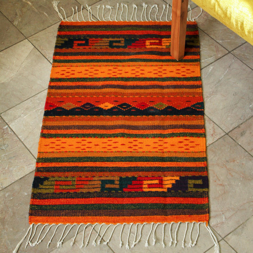 Zapotec Wool Striped Area Rug 2x3.5 'Stairway to the Sky'
