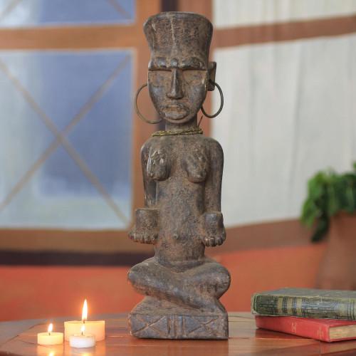African Wood Healer Woman Sculpture 'Healer'