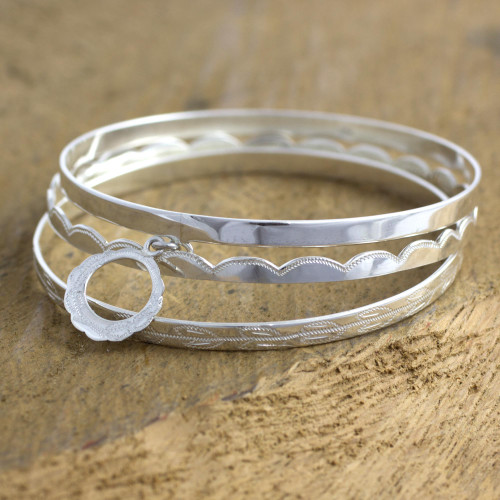 Sterling silver bangle bracelets Set of 3 'Totonicapan Wreaths'