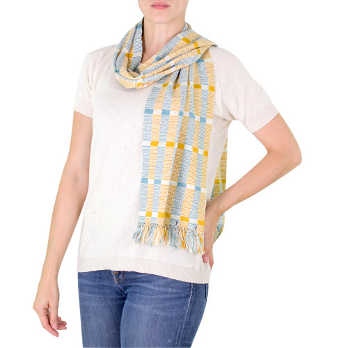 Natural Dyes Cotton Scarf Woven by Hand Guatemala 'Atitlan Muse'