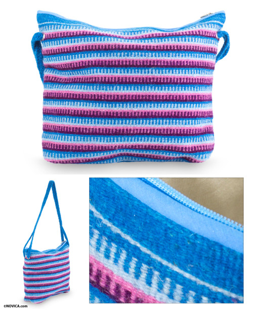 Blue and Orchid Zapotec Wool Shoulder Bag 'Clear Zapotec Skies'