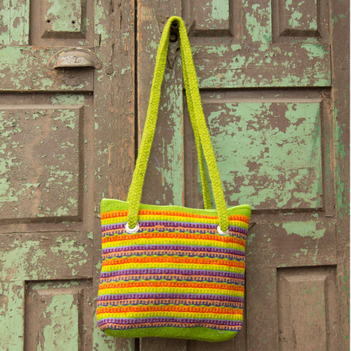 Multicolor Zapotec Wool Shoulder Bag 'Fiesta in Teotitlan'