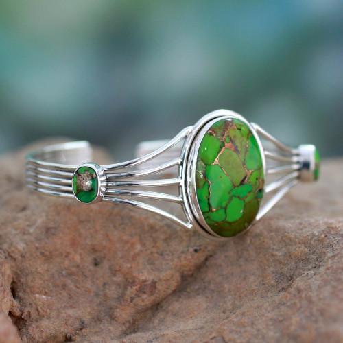 Modern Composite Turquoise Silver Cuff Bracelet 'Verdant Island'