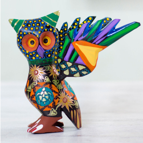 Colorful Handcrafted Wood Statuette 'My Owl Protector'