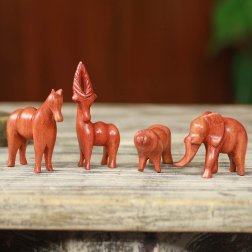 Artisan Crafted African Animal Sculptures Set of 4 'African Animals'