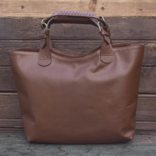 Sleek Brown Leather Large Tote Handbag from Mexico 'Generosity'