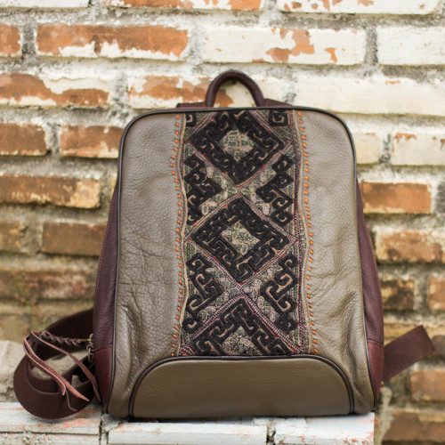 Embroidered Applique on Olive Leather Backpack Bag 'Hill Tribe Cheerful Olive'