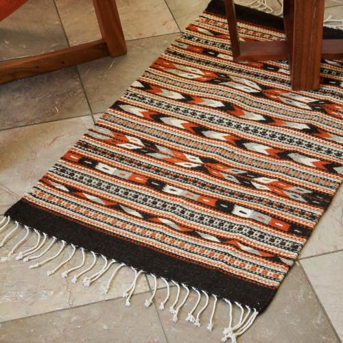 Handwoven Mexican Zapotec Area Rug 2x3.5 'Oaxaca Night'