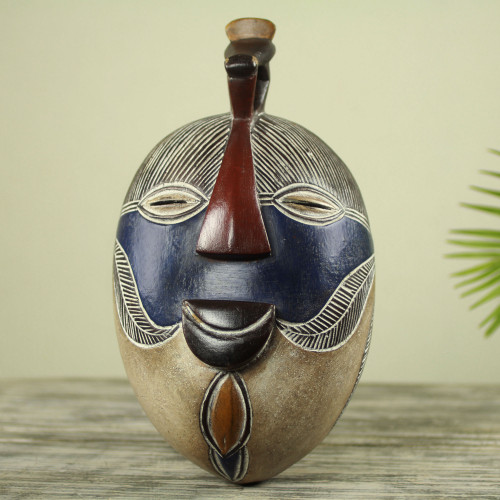 Handmade Congolese Wood Wall Mask with Bird Accent 'Songye Kifwebe'