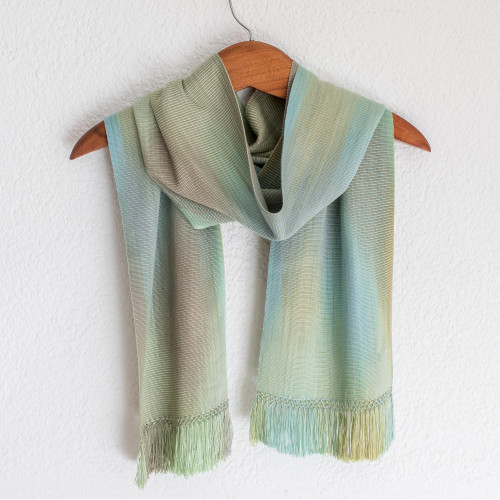 Hand Woven Pastel Blue Green Rayon Chenille Scarf 'Iridescent Mint Pastel'