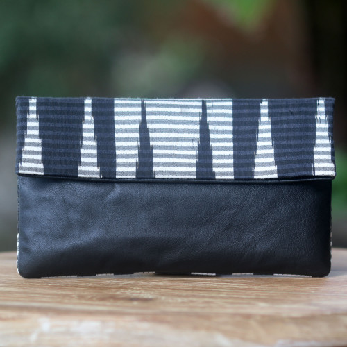 Hand Painted Cotton Clutch with Black Leather 'Black Desert'