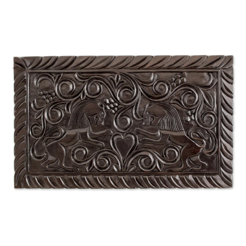 Artisan Crafted Wood Wall Relief Panel of Lions 'Guardians'
