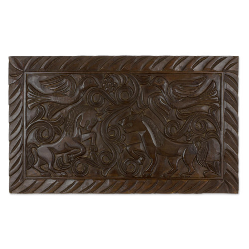 Artisan Crafted Wood Relief Panel Featuring Birds and Horses 'Equestrian Nobility'