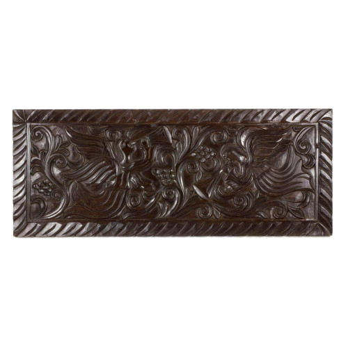 Artisan Crafted Pine Wood Wall Panel with Angel Motif 'Angels with Trumpets'