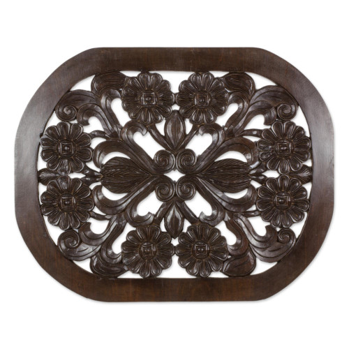 Handmade Pinewood Floral Wall Panel from Guatemala 'Floral Harmony'