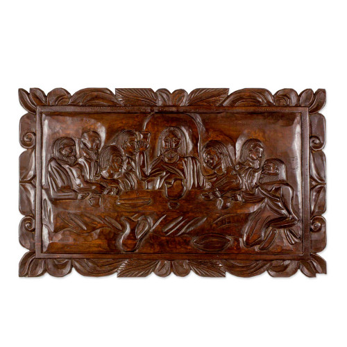 Artisan Crafted Pinewood Relief Panel of the Last Supper 'La Ultima Cena'