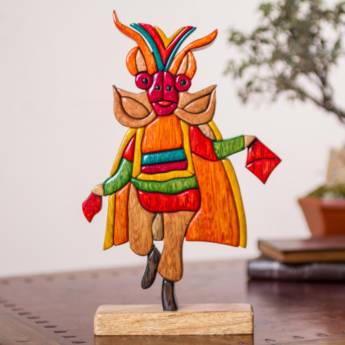 Multicolor Wood Sculpture of Traditional Andean Dancer 'Diablada'
