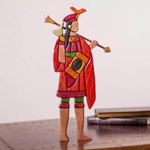 Artisan Crafted Wood Sculpture of Inca Emperor 'Lloque Yupanqui'