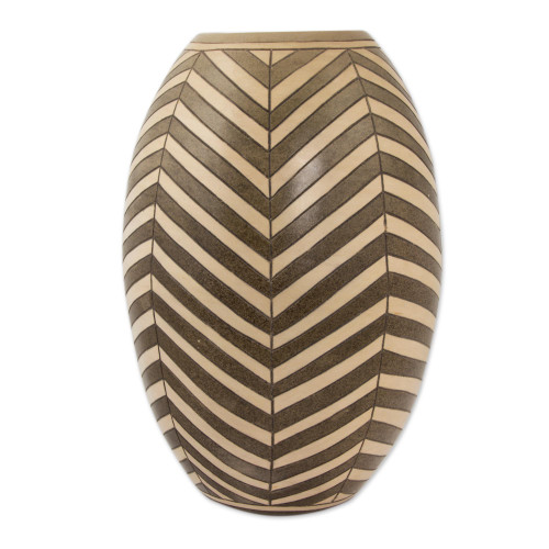 Decorative Ceramic Vase with Hand Etched Diagonal Motifs 'Earth Arrows'