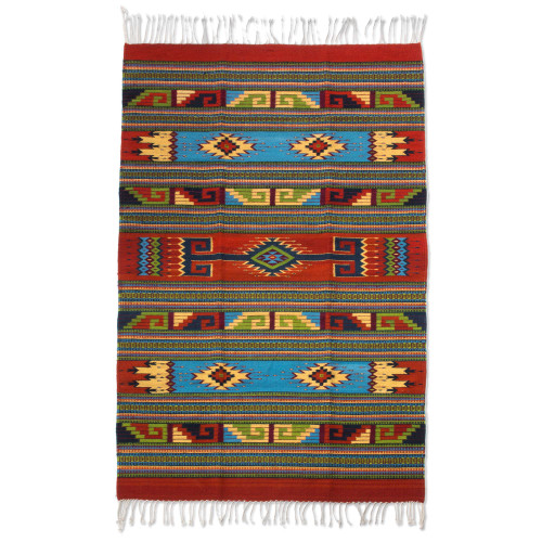 Red and Multicolor Authentic Handwoven Zapotec Wool Rug 4x6 'Linear Sun'