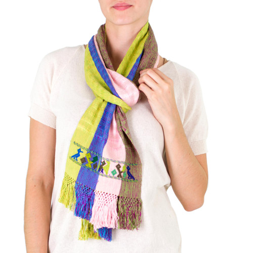 Handwoven Cotton Scarf with Wide Textured Stripes 'Patinamit Flowers'