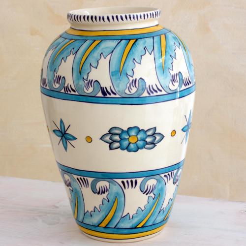 Artisan Crafted Floral Ceramic Vase Large 'Bermuda'