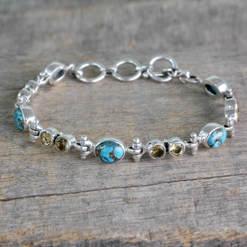 Citrine and Reconstituted Turquoise Silver Link Bracelet 'Sun and Earth'