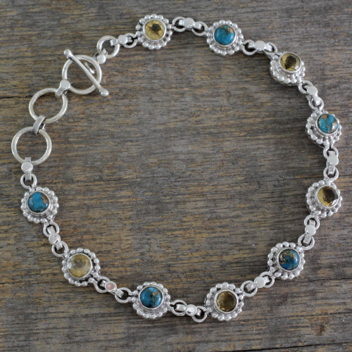 Indian Sterling Silver Jewelry with Citrine and Turquoise 'Petite Flowers'