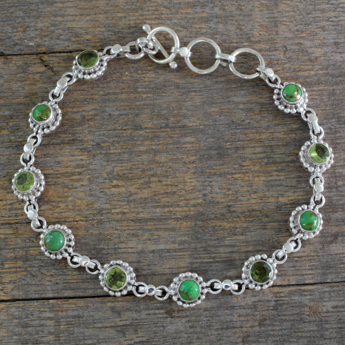 Sterling Silver Peridot and Composite Turquoise Bracelet 'Petite Flowers'