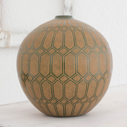 Green and Brown Decorative Nicaraguan Terracotta Vase 'Lights in the Forest'