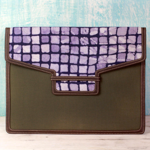 India Batik Print Cotton and Leather File Holder Portfolio 'Indigo Cheer'