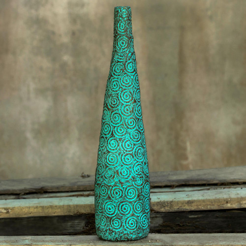 Recycled Paper Decorative Vase Hand Crafted with Spirals 'Sea Waves'