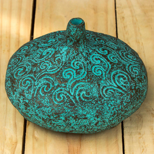 Handmade Decorative Recycled Paper Vase from Thailand 'Swirling Sea'
