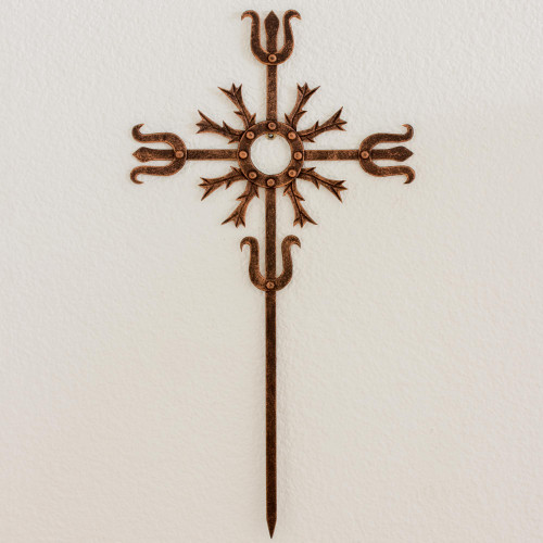 Cross Religious Wall Art Sculpture in Bronze Wrought Iron 'Love Energy'