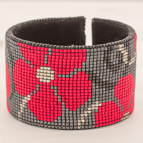 Glass Beaded Red Floral Cuff Bracelet with Leather 'Red Maya Blossoms'