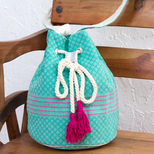 Striped Drawstring Cotton Shoulder Bag Handcrafted in Mexico 'Day Trip'
