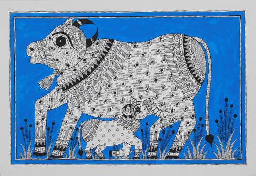 Signed Indian Madhubani Folk Art Painting of Cows 'Bond of Love'