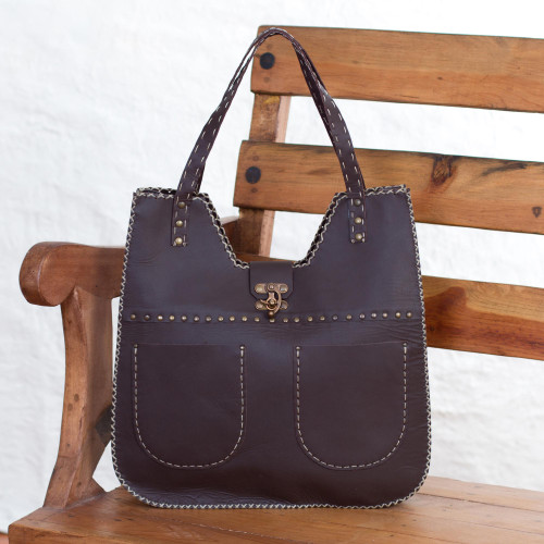 Brown Leather Shoulder Bag from Guatemala 'Espresso Delight'