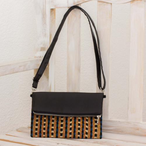 Leather Convertible Sling Bag with Handwoven Cotton Inset 'Nocturnal Brilliance'