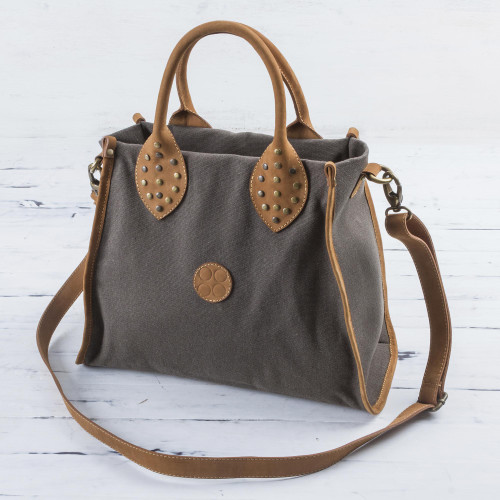 Leather Accent Cotton Handle Shoulder Bag in Mushroom Peru 'Brown Mushroom'