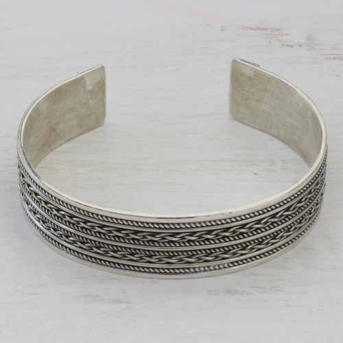 Hand Crafted Sterling Silver Cuff Bracelet with Rope Motifs 'Twirling Fascination'