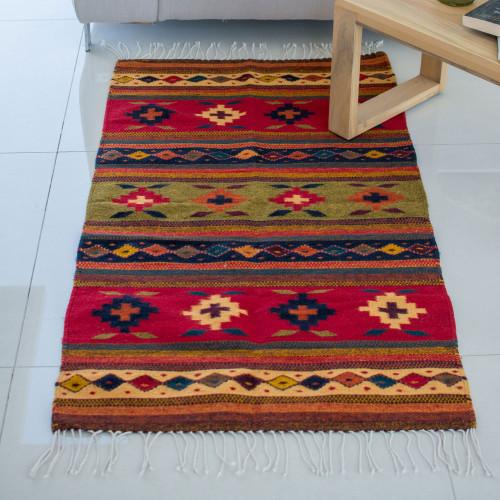 Multicolor Wool Rug with Geometric Pattern 2.5x5 'Geometric Flower'