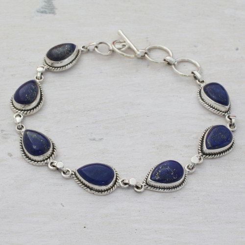 Lapis Lazuli and Sterling Silver Link Bracelet from India 'Caressing Rain in Blue'