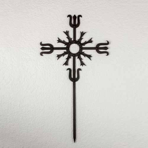 Artisan Crafted Iron Wall Cross in Black from Guatemala 'Love Energy in Black'