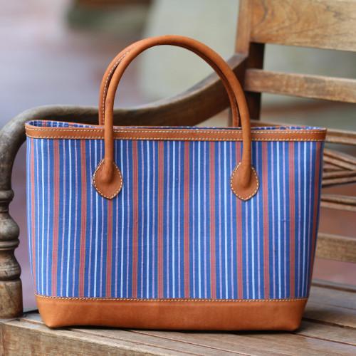 Striped Batik Leather Accent Cotton Tote Bag from Bali 'Lurik Stripes'