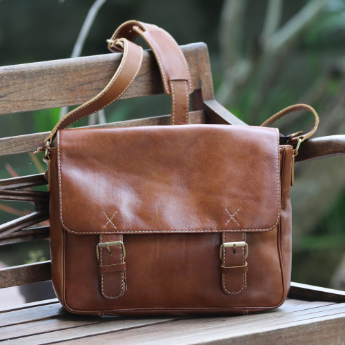 Handcrafted Leather Messenger Bag in Copper from Bali 'Copper Traveler'
