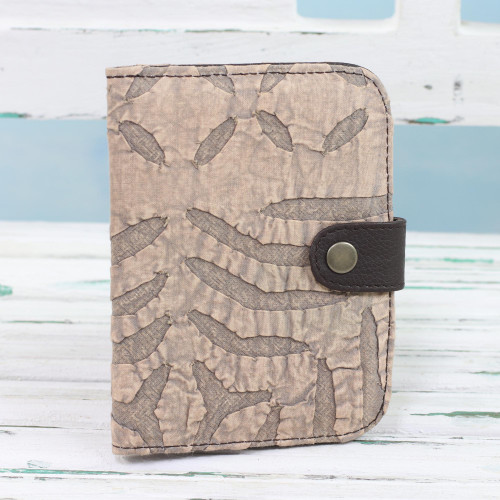 Leather Accent Cotton Appliqu Passport Wallet in Khaki 'Khaki Delight'