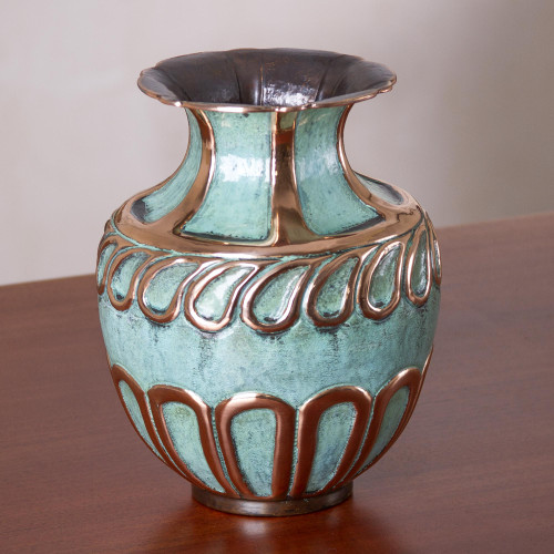 Oxidized Copper and Bronze Decorative Vase from Peru 'Moment of Wonder'